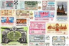 En collage av statliga lottsedlar USSR Arkivfoto