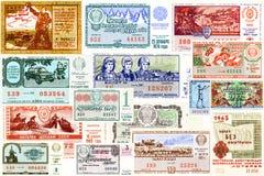 En collage av statliga lottsedlar USSR fotografering för bildbyråer
