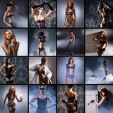 En collage av unga kvinnor som poserar i erotisk damunderkläder Royaltyfri Bild