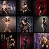 En collage av unga kvinnor som poserar i erotisk damunderkläder Arkivfoto