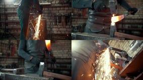 4 en 1: Concepto de la fragua - la fragua procesa la aleación caliente almacen de video