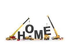 En construction à la maison : Machines créant maison-Word. Photos stock