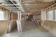 En construction à la maison neuf Images libres de droits