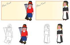 En copule av ställekort vallfärdar mannen och kvinnan för tacksägelsematställe vektor illustrationer