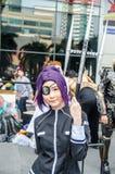 En cosplay oidentifierad japansk anime poserar i Japan Festa i Bangkok 2013 Arkivfoto