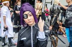 En cosplay oidentifierad japansk anime poserar i Japan Festa i Bangkok 2013 Royaltyfria Foton