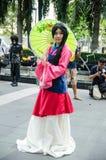 En cosplay oidentifierad japansk anime poserar i Japan Festa i Bangkok 2013 Arkivbild