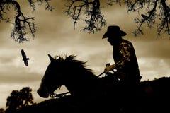 En cowboy, en häst och fåglar i sepia. Royaltyfria Bilder