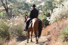 En cowboy i sunen med växter. Arkivfoto