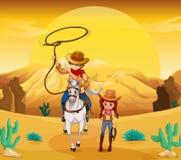 En cowboy och en cowgirl på öknen royaltyfri illustrationer