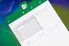 En créant le document dans la Microsoft Office excelez l'application images stock