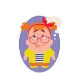 En cuestión, sonrisa y Avatar del friki pequeño Person Cartoon Character en vector plano stock de ilustración