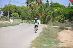En cyklist på en tropisk landsväg Royaltyfri Bild