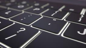 En dépistant le tir du clavier d'ordinateur noir moderne et lumineux joignez la clé Agrafe 4K conceptuelle illustration libre de droits