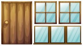 En dörr och fönster vektor illustrationer