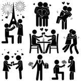 En dag av förälskelseepisoder Förälskade enkla konturer för pojke & för flicka vektor illustrationer