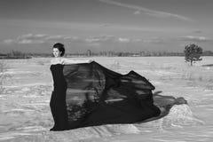 En dag en flicka i ryss Sibirien Arkivfoto