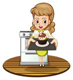 En dam som bakar en muffin royaltyfri illustrationer