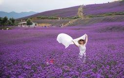 En danskvinna i lavendelnöjesfält Royaltyfria Bilder