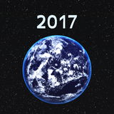 2017 en de aarde Royalty-vrije Stock Foto's