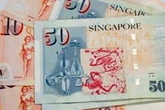 50 en 10 de dollar van Singapore rekeningentextuur Royalty-vrije Stock Foto's