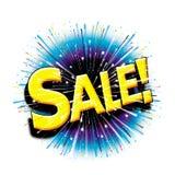 En de la venta icono gráfico de la explosión del starburst aquí Fotos de archivo libres de regalías