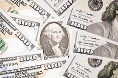 100 en $ 1 de V.S. van bankbiljetten$ Royalty-vrije Stock Fotografie