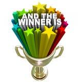 En de Winnaar is de Gouden Toekenning van de Trofee vector illustratie
