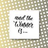 En de winnaar is Weggevertjebanner voor sociale media pictogrammen Het vector moderne hand van letters voorzien Royalty-vrije Stock Afbeeldingen