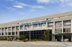 En dehors des arrivées terminales au ` s Santos Dumont Airport du Brésil, baptisé du nom d'un pionnier brésilien d'aviation Photo libre de droits