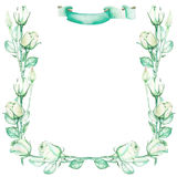 En dekorativ ram med en prydnad av de gröna rosorna för vattenfärganbud för en text som gifta sig inbjudan Arkivbild