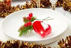 En dekorerad jultabell Fotografering för Bildbyråer