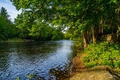 En del av den Neversink floden nära den Guymard turnpiken som är skattskyldig av Delaware River det unika området i Catskillsen,  arkivbilder