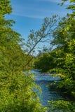 En del av den Neversink floden nära den Guymard turnpiken som är skattskyldig av Delaware River det unika området i Catskillsen,  arkivfoto