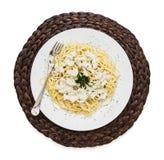 En del av smaklig spagetti på det vide- magasinet Arkivfoto