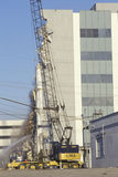 En demolerad byggnad på den olympiska blvden efter det Northridge jordskalvet i 1994 Fotografering för Bildbyråer
