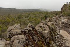 En descendant du sommet de Kilimanjaro Image libre de droits