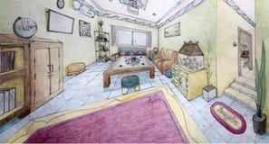 En design av familjrum 2 pekar perspektiv Royaltyfri Fotografi