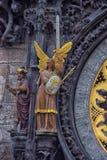 En detalj av den astronomiska klockan i Prague Arkivfoto
