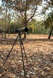 En digital kamera med zoomobjektivet på tripon Royaltyfri Bild