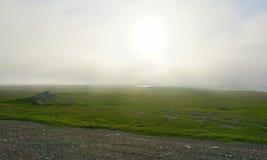 En dimmig afton i tundra arkivfoto