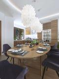 En dinant la cuisine concevez dans un style moderne avec une table de salle à manger et Photos libres de droits