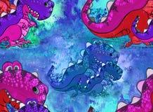 En dinosaurie, ett tecknad filmtecken Diagram med akrylmålarfärger children illustration handgjort Använd utskrivavna material, t Stock Illustrationer