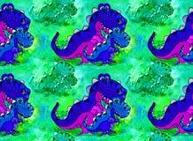 En dinosaurie, ett tecknad filmtecken Diagram med akrylmålarfärger children illustration handgjort Använd utskrivavna material, t Vektor Illustrationer