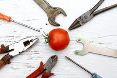 En disant s'il le ` ain t se cassait, mettez la difficulté du ` t il métaphore avec le tomat entier images stock