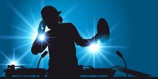 EN discjockey leder natten av en nattklubb royaltyfri illustrationer