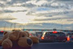 En docka i bilen på trafikstockningen royaltyfri foto