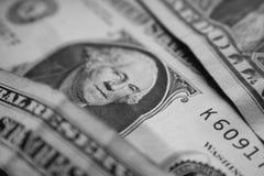 En dollar Bill In Black & vitt slut upp höga Qualty Royaltyfria Foton