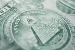 En dollar Bill With Pyramid High Quality royaltyfri bild