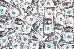 En dollar räkningar framifrån, enkel bakgrund av en dollar arkivfoton